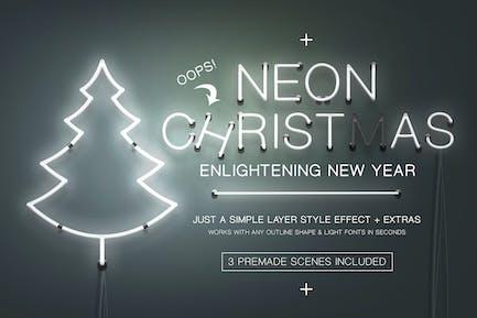Neon Weihnachten Layer Stil