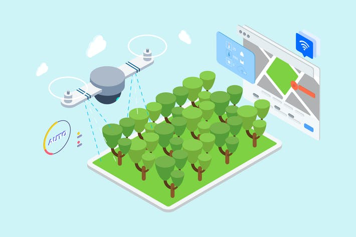 Thumbnail for IOT Drone Watering Isometric Illustration - TU