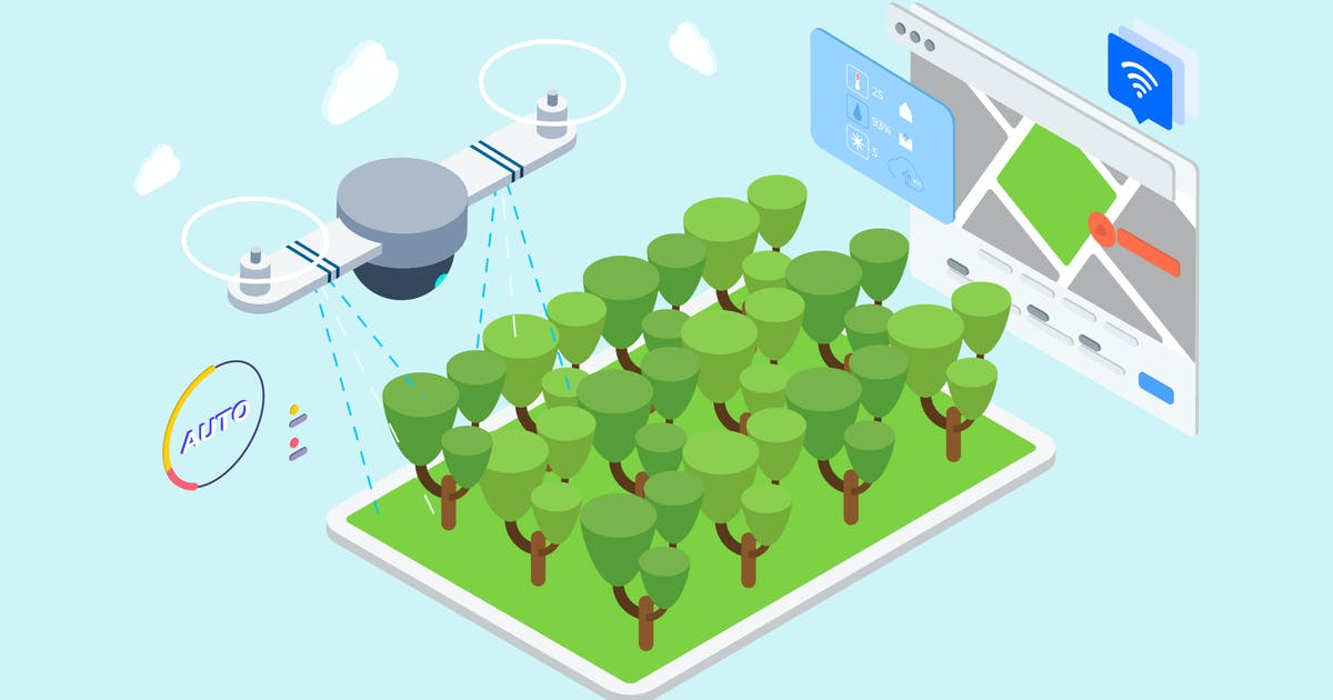 Download IOT Drone Watering Isometric Illustration - TU by angelbi88