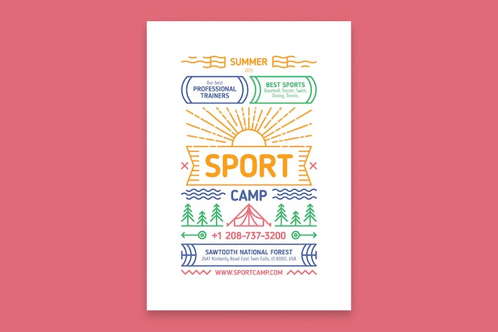 Cover Image For Sport Camp Poster Template