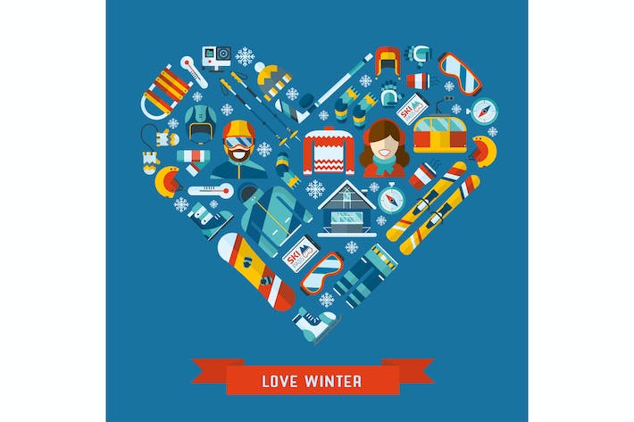 Thumbnail for Love Winter Activity Flat Icons Heart Shape