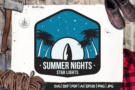 Surfing Vector Logo, Summer Retro Adventure Retro