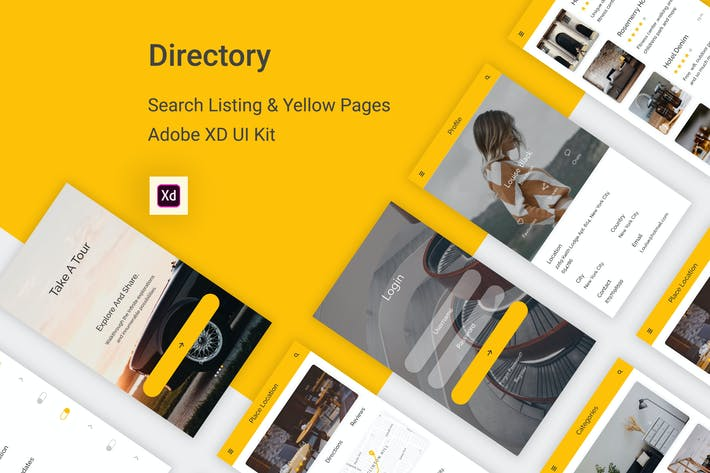 Directory - Listing Mobile App For Adobe XD by themepassion on