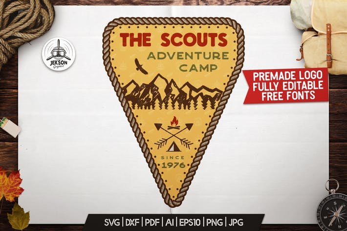 Thumbnail for Scout Camp Logo, Vintage Adventure Badge Patch