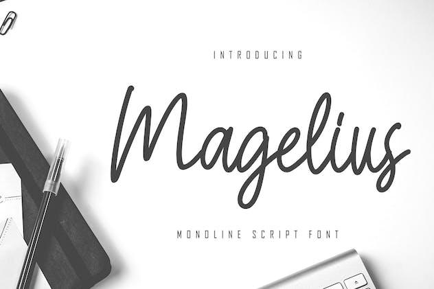 Magelius - Monoline Script Font