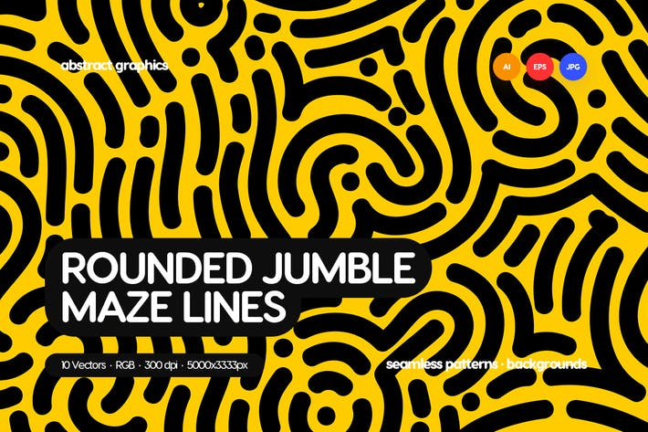 Thumbnail for Organic Rounded Jumble Maze Lines Seamless Pattern