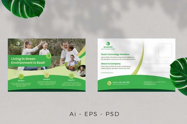 Thumbnail for Green Life Postcard Design