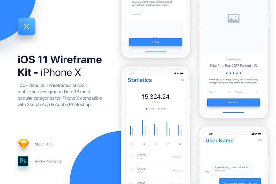 UIXO - iOS 11 Wireframe Kit - iPhone X Templates