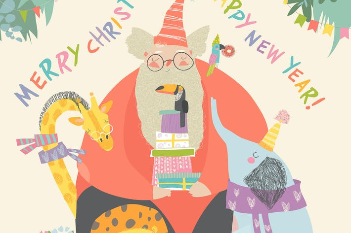 Thumbnail for Weihnachtsmann mit Löwe, Giraffe, Panda, Koala und El