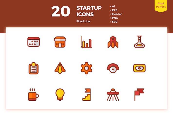 Thumbnail for 20 Startup Icons (Filled Line)
