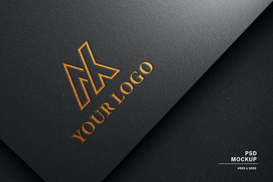 Logo Mockup black paper foils