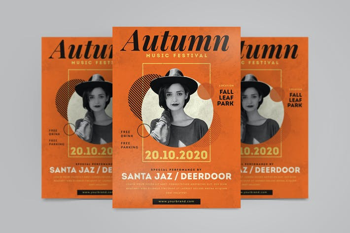 Cover Image For Autumn Music Flyer