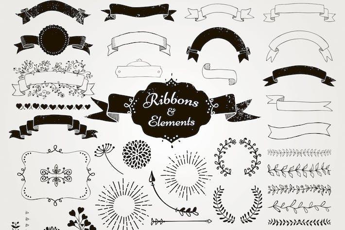 Thumbnail for Gezeichnete Bänder und Design-Elemente