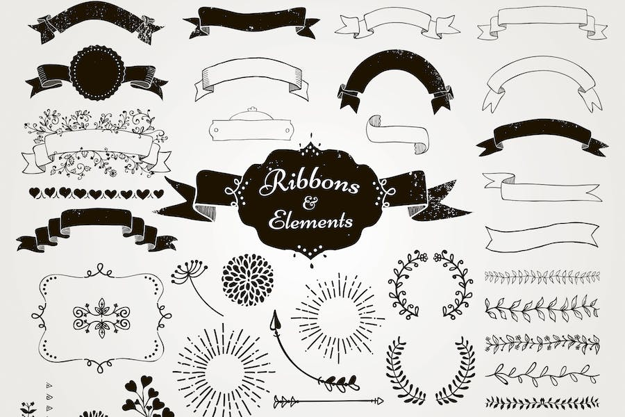Drawn Ribbons and Design Elements