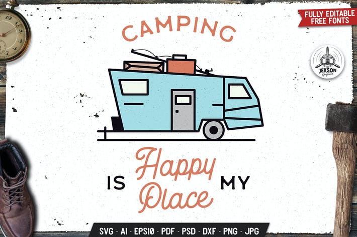 Thumbnail for Camping Life Label Vector Travel Badge Graphic RV