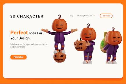 Set of Character Halloween Scarecrow