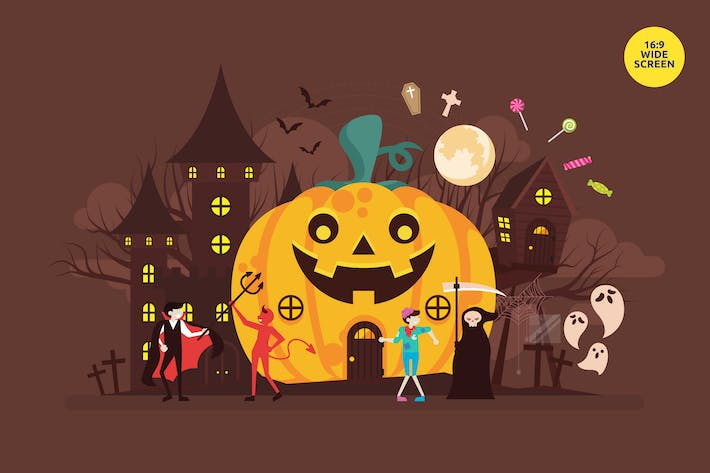 Cover Image For Spooky Halloween Vector Illustration Concept