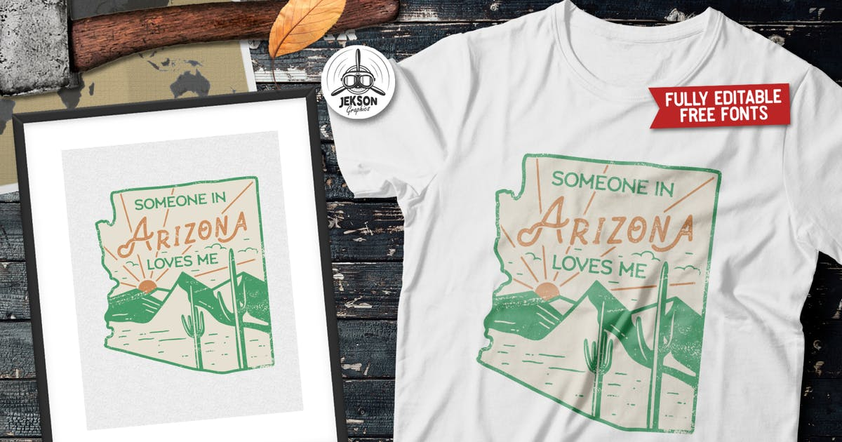 Download Arizona US State Camp Badge / Vintage Travel Logo by JeksonJS