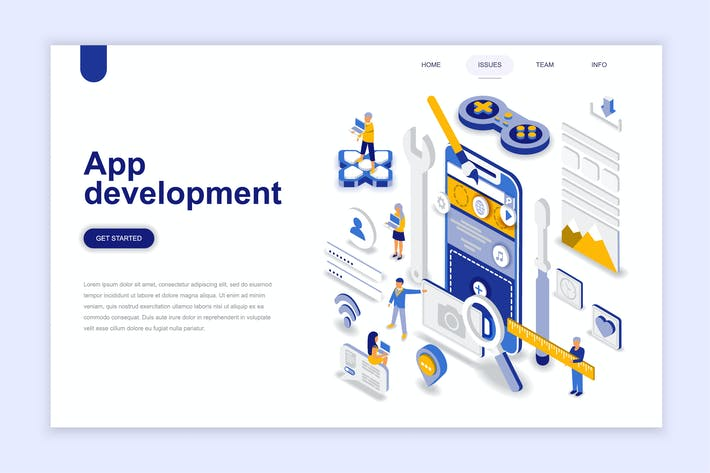 Thumbnail for App Development Isometric Landing Page