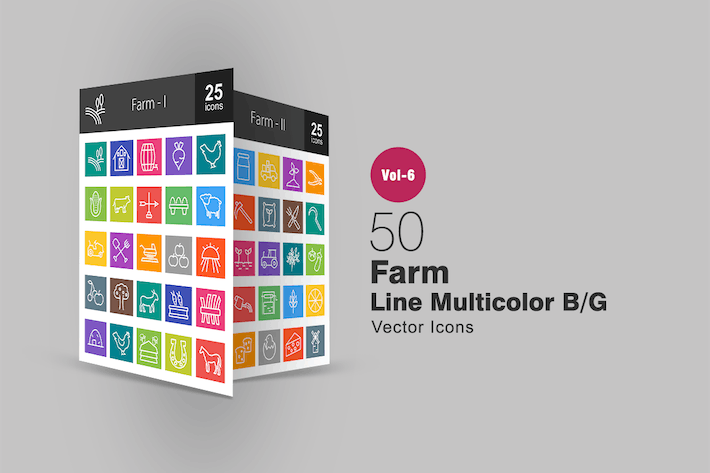Thumbnail for 50 Farm Line Multicolor B/G Icons
