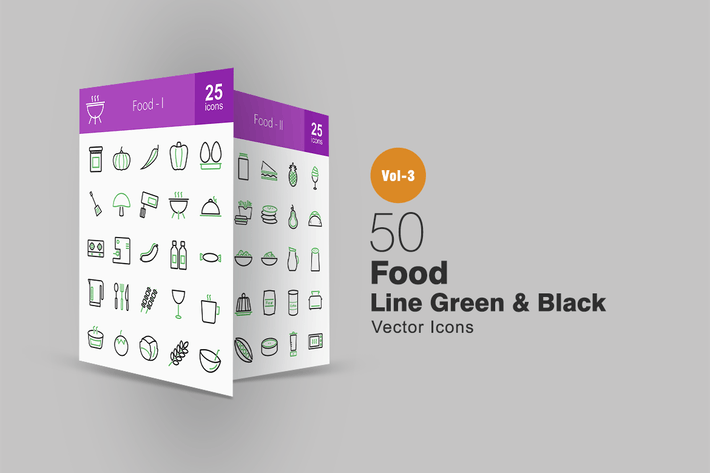 Thumbnail for 50 Food Line Green & Black Icons