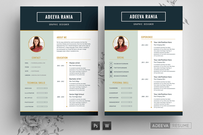 Thumbnail for Professional Resume Template Rania