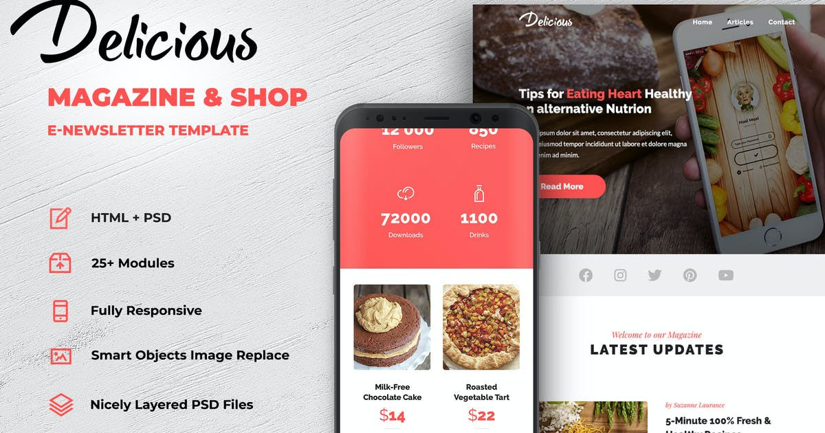 Download Delicious - Magazine & Shop E-newsletter Template by creakits