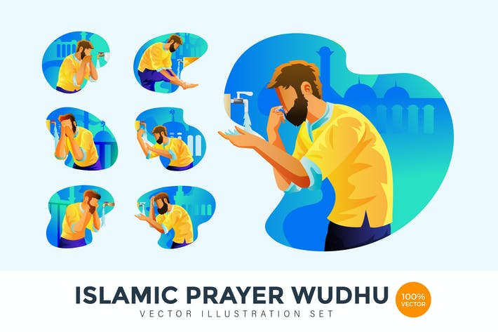 Thumbnail for Islamic Prayer Wudhu Character Vector Illustration