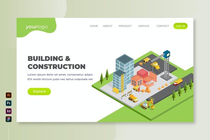 Thumbnail for Building and Construction - Isometric Landing Page
