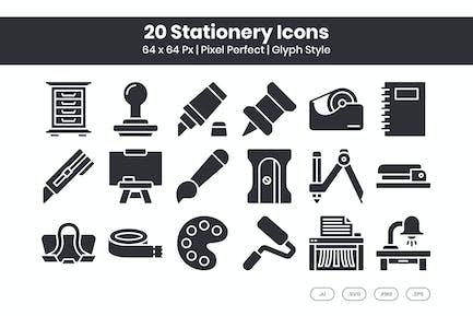 Conjunto de 20 Íconos de papelería - Glifo