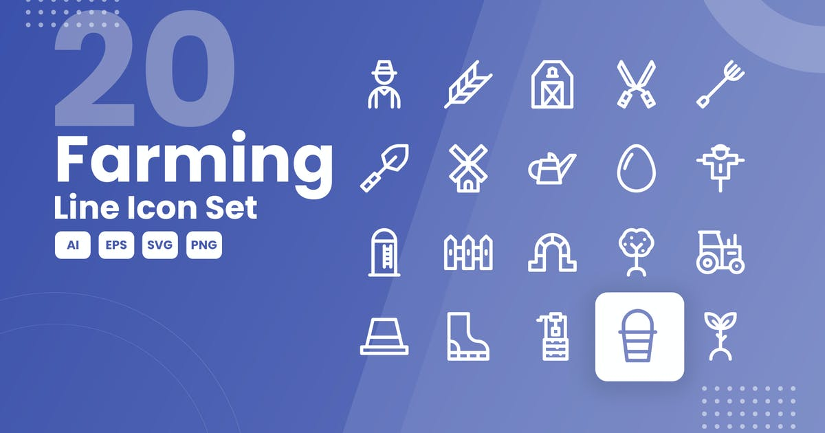 Download 20 Farming Line Icon Set by studiotopia