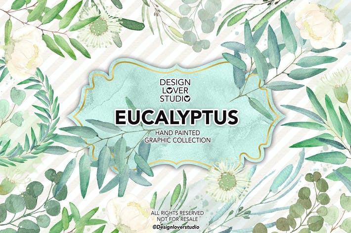Thumbnail for Watercolor Eucalyptus leaves