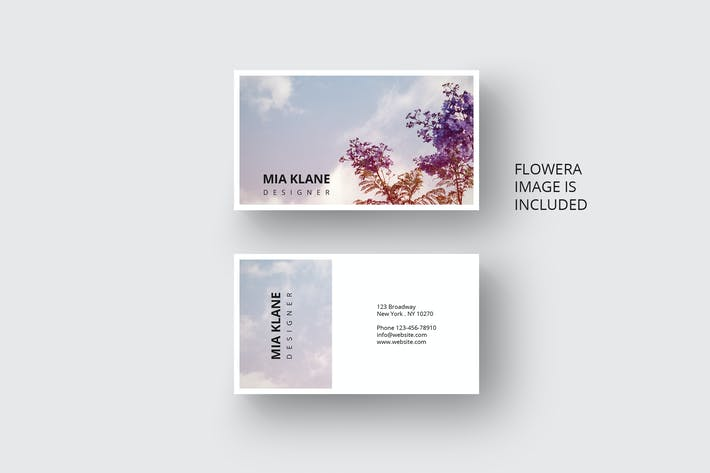 Thumbnail for Business card with flower design in vintage style