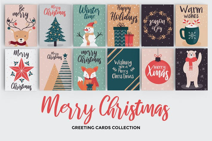 Thumbnail for Set of flat modern hand drawn Christmas cards