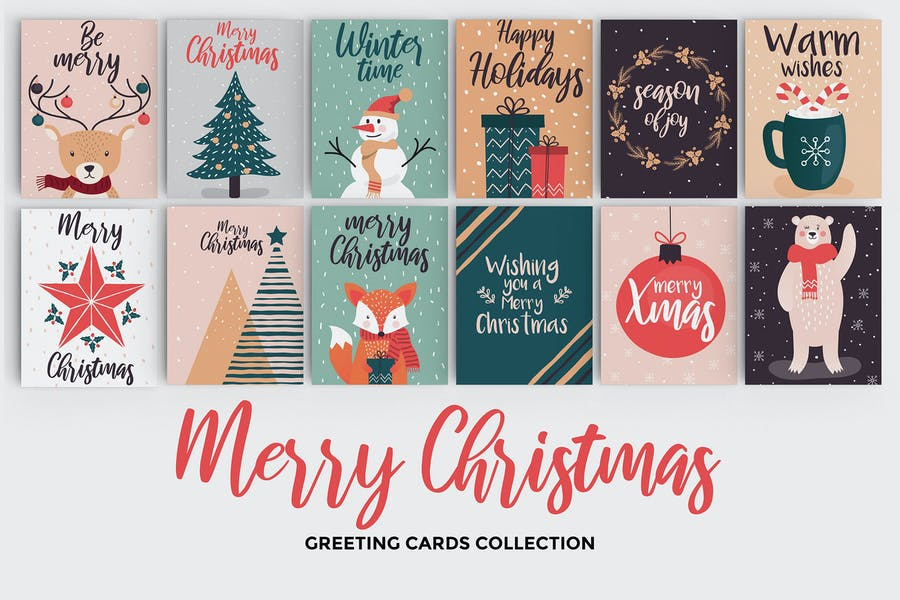 Set of flat modern hand drawn Christmas cards