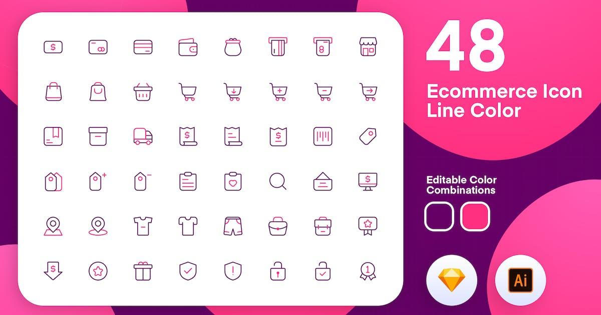 Download eComerce Icon Line Color by sudutlancip