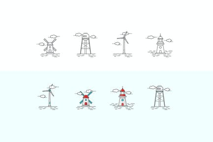 Icons Set in the Style of Line Art. Windmill, Ligh