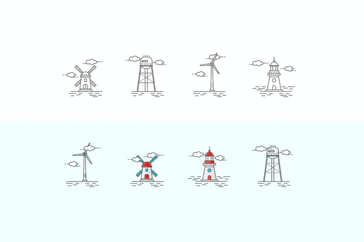 Thumbnail for Icons Set in the Style of Line Art. Windmill, Ligh