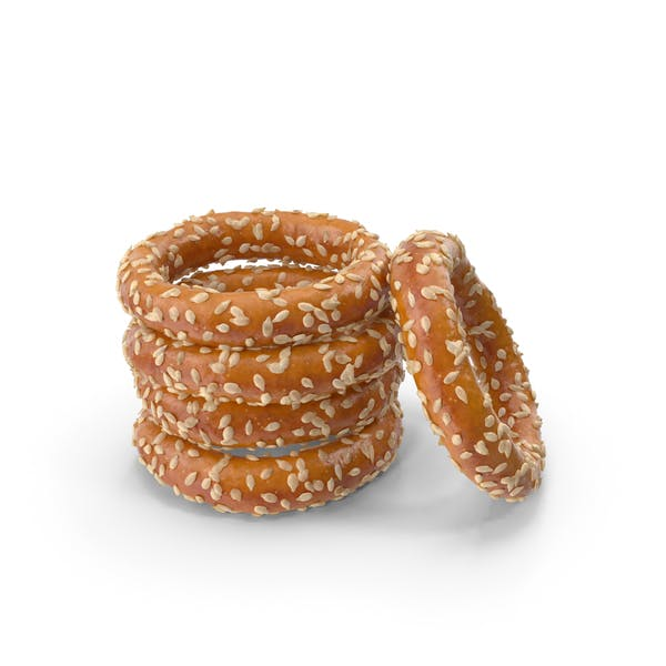 Small Pile of Mini Pretzel Rings with Sesame