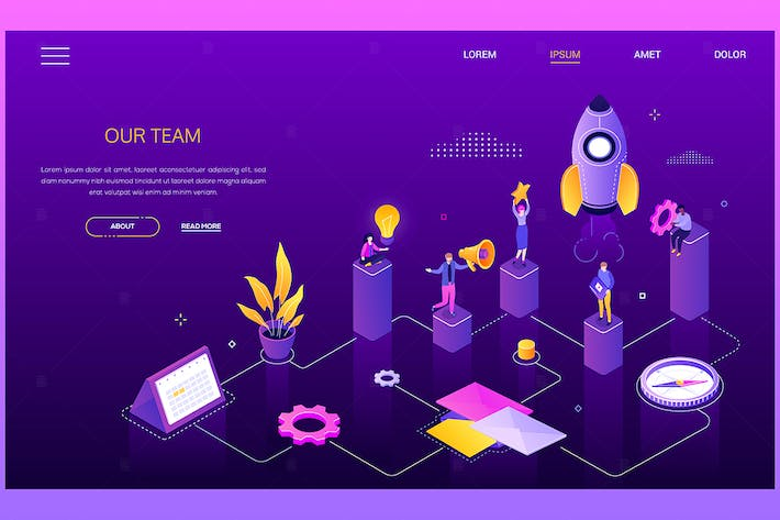 Thumbnail for Our team - colorful isometric vector web banner