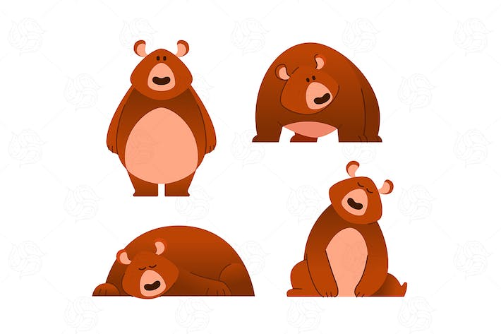 Thumbnail for Bear - modern vector set of flat cartoon animal