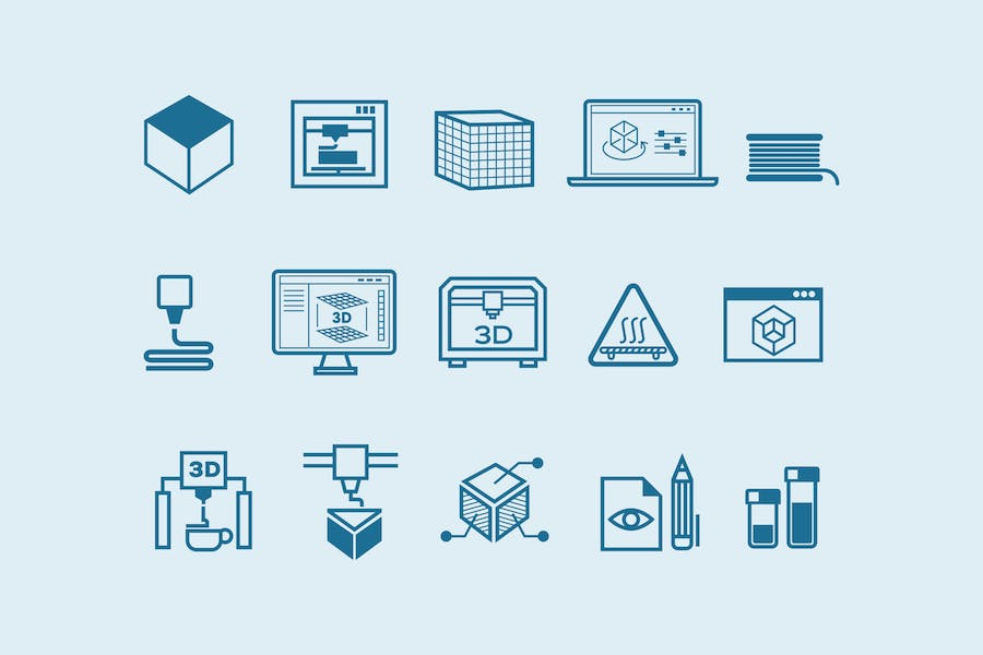 15 3D Printing Icons