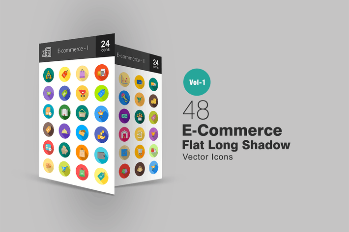 48 E-Commerce Flache lange Schatten Icons