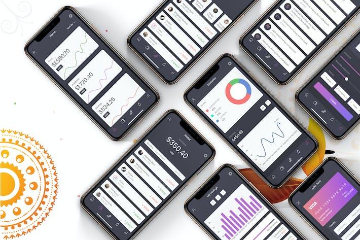 Thumbnail for Financial App UI Mobile Kit - H