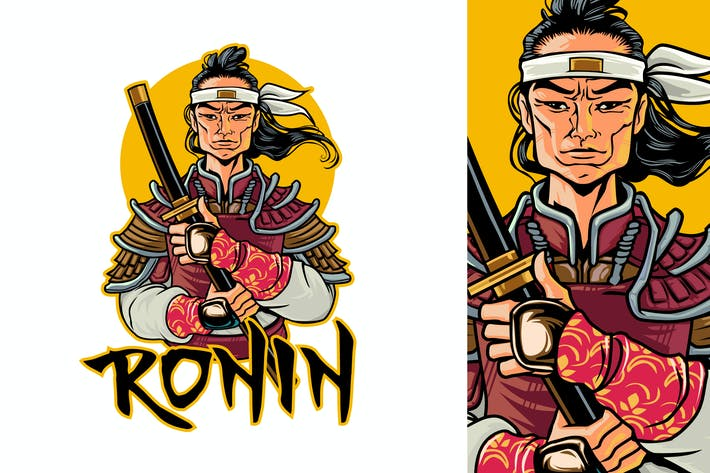 Thumbnail for Ronin Holding Katana Portrait Logo