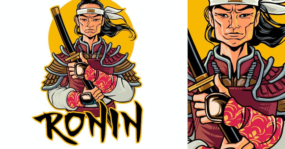 Download Ronin Holding Katana Portrait Logo by Suhandi