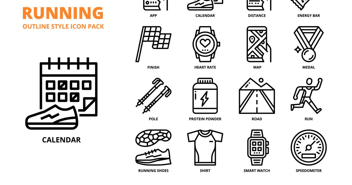 Download Running Outline Style Icon Set by monkik