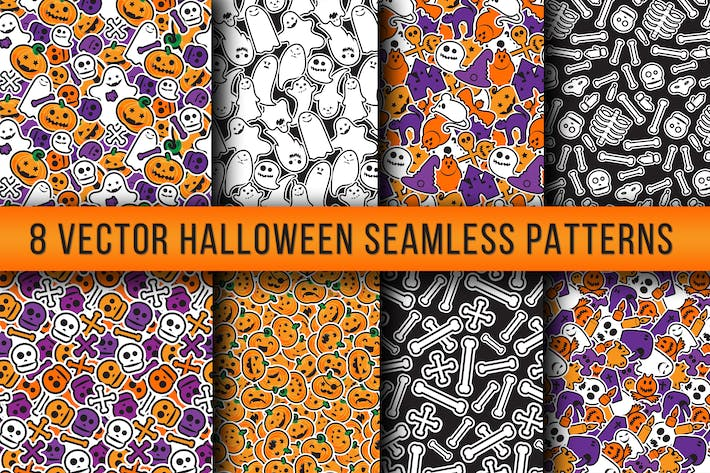 Thumbnail for Stylish Halloween Seamless Patterns