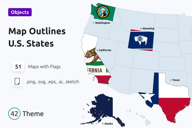 U.S. States Map Outlines with Flags
