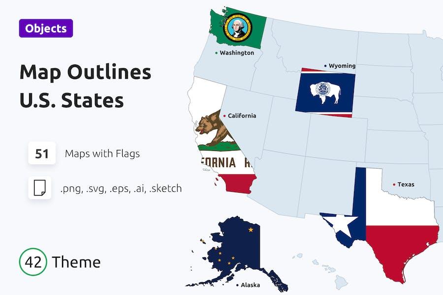 Umrisse von US-Staaten mit Flaggen